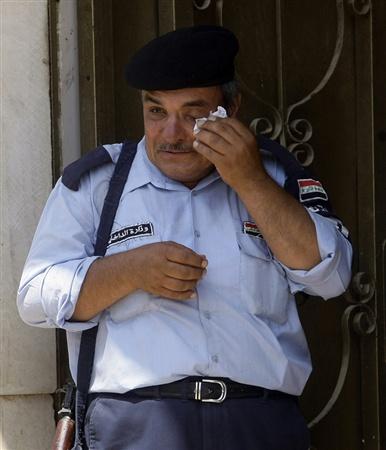 Policia iraqui después de un ataque suicida en Baquba, Irak.