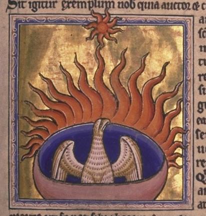 El ave del Fenix en un manuscrito antiguo.