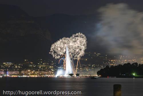 Fuegos artificiales en la rada de Ginebra. Agosto 2008