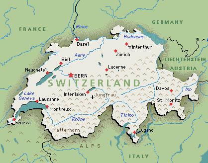 Suiza en el centro de Europa.