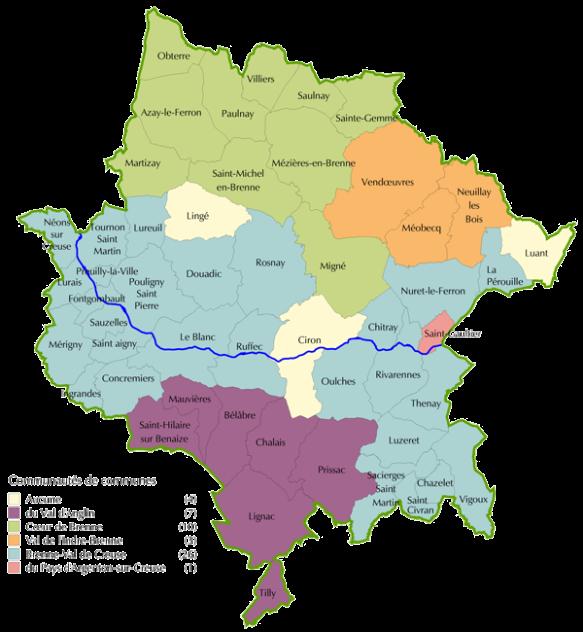 mapa región de Brenne (Francia)